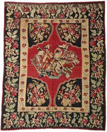 Kelim Semi-Antiek Vloerkleed 287X355 Echt Oosters Handgeweven Donkerrood/Zwart Groot (Wol, Slovenië)