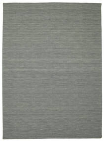 Kelim Loom - Donkergrijs Vloerkleed 250X350 Echt Modern Handgeweven Lichtgrijs/Donkergroen Groot (Wol, India)