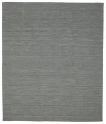Kelim Loom - Donkergrijs Vloerkleed 250X300 Echt Modern Handgeweven Donkergroen/Lichtgrijs Groot (Wol, India)