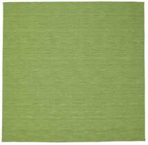 Kelim Loom - Groen Vloerkleed 300X300 Echt Modern Handgeweven Vierkant Olijfgroen/Lichtgroen Groot (Wol, India)