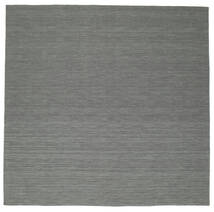 Kelim Loom - Donkergrijs Vloerkleed 300X300 Echt Modern Handgeweven Vierkant Donkergroen/Lichtgrijs Groot (Wol, India)