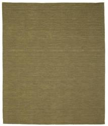 Kelim Loom - Olijf Vloerkleed 250X300 Echt Modern Handgeweven Olijfgroen Groot (Wol, India)