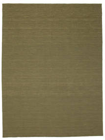 Kelim Loom - Olijf Vloerkleed 300X400 Echt Modern Handgeweven Olijfgroen Groot (Wol, India)