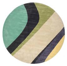 Dynamic Handtufted - Mint Vloerkleed Ø 300 Modern Rond Beige/Donkergrijs/Pastel Groen Groot (Wol, India)