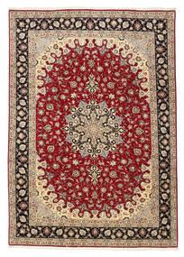 Tabriz 50 Raj Vloerkleed 201X299 Echt Oosters Handgeknoopt Donkerrood/Lichtbruin (Wol/Zijde, Perzië/Iran)