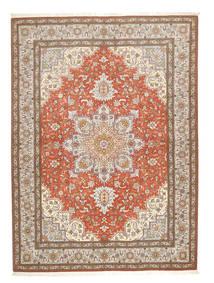 Tabriz 50 Raj Vloerkleed 150X208 Echt Oosters Handgeknoopt Lichtgrijs/Bruin (Wol/Zijde, Perzië/Iran)