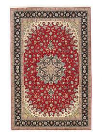 Tabriz 50 Raj Vloerkleed 198X307 Echt Oosters Handgeknoopt Donkerrood/Lichtbruin (Wol/Zijde, Perzië/Iran)