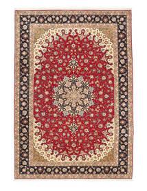 Tabriz 50 Raj Zijden Pool Vloerkleed 200X295 Echt Oosters Handgeknoopt Rood/Bruin (Wol/Zijde, Perzië/Iran)