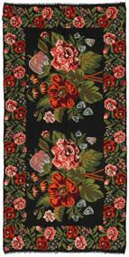 Rozenkelim Vloerkleed 158X315 Echt Oosters Handgeweven Zwart/Donkergroen (Wol, Moldavië)