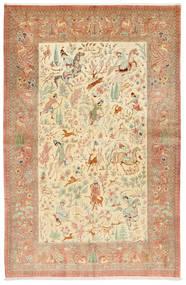 Ghom Zijde Getekend: Hosseini Vloerkleed 155X240 Echt Oosters Handgeknoopt Roestkleur/Donkerbeige (Zijde, Perzië/Iran)
