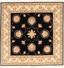 Tabriz 50 Raj Met Zijde Vloerkleed 203X205 Echt Oosters Handgeknoopt Vierkant Zwart/Beige (Wol/Zijde, Perzië/Iran)