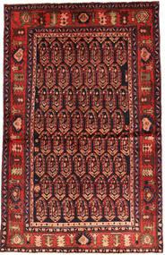 Nahavand Vloerkleed 130X206 Echt Oosters Handgeknoopt Donkerrood/Roestkleur (Wol, Perzië/Iran)