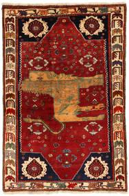 Ghashghai Figuratief/Geïllustreerd Vloerkleed 130X200 Echt Oosters Handgeknoopt Donkerrood/Roestkleur (Wol, Perzië/Iran)