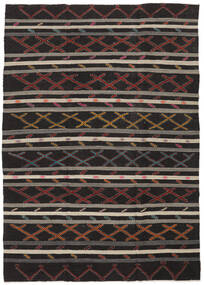 Kelim Semi-Antiek Turkije Vloerkleed 235X334 Echt Oosters Handgeweven Zwart/Donkerbruin (Wol, Turkije)