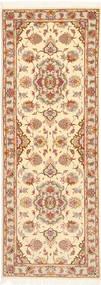 Tabriz 50 Raj Met Zijde Vloerkleed 80X225 Echt Oosters Handgeknoopt Tapijtloper Beige/Lichtbruin (Wol/Zijde, Perzië/Iran)