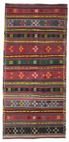 Kelim Semi-Antiek Turkije Vloerkleed 156X331 Echt Oosters Handgeweven Donkergrijs/Rood (Wol, Turkije)