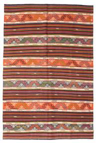 Kelim Semi-Antiek Turkije Vloerkleed 185X276 Echt Oosters Handgeweven Donkerrood/Lichtbruin (Wol, Turkije)