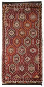 Kelim Semi-Antiek Turkije Vloerkleed 167X341 Echt Oosters Handgeweven Donkerbruin/Donkerrood (Wol, Turkije)