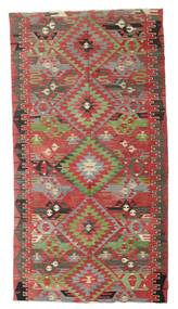 Kelim Semi-Antiek Turkije Vloerkleed 170X316 Echt Oosters Handgeweven Donkerrood/Olijfgroen (Wol, Turkije)