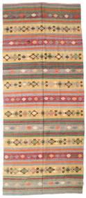 Kelim Semi-Antiek Turkije Vloerkleed 163X387 Echt Oosters Handgeweven Tapijtloper Olijfgroen/Donkerrood (Wol, Turkije)