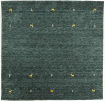 Gabbeh Loom Two Lines - Donkergrijs/Groen Vloerkleed 200X200 Modern Vierkant Donkergroen/Donker Turkoois (Wol, India)