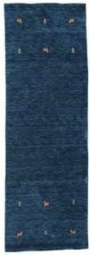 Gabbeh Loom Two Lines - Donkerblauw Vloerkleed 80X250 Modern Tapijtloper Donkerblauw (Wol, India)