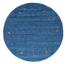 Gabbeh Loom Two Lines - Blauw Vloerkleed Ø 200 Modern Rond Donkerblauw/Blauw (Wol, India)