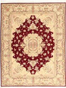 Tabriz 50 Raj Met Zijde Vloerkleed 150X197 Echt Oosters Handgeknoopt Beige/Donkerrood (Wol/Zijde, Perzië/Iran)