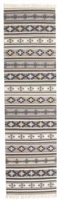 Kelim Cizre Vloerkleed 80X300 Echt Modern Handgeweven Tapijtloper Lichtgrijs/Beige (Wol, India)