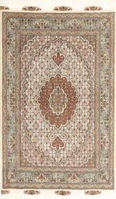Tabriz 50 Raj Vloerkleed 100X150 Echt Oosters Handgeknoopt Lichtgrijs/Bruin/Beige (Wol/Zijde, Perzië/Iran)