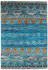 Quito - Turkoois Vloerkleed 160X230 Echt Modern Handgeknoopt Turquoise Blauw/Donkergrijs (Zijde, India)