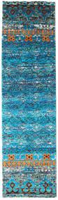 Quito - Turkoois Vloerkleed 80X300 Echt Modern Handgeknoopt Tapijtloper Turquoise Blauw/Blauw (Zijde, India)