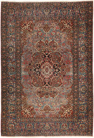 Isfahan Antiek Vloerkleed 138X207 Echt Oosters Handgeknoopt Donkerbruin/Donkerrood (Wol, Perzië/Iran)
