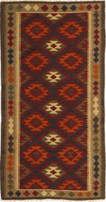 Kelim Maimane Vloerkleed 97X198 Echt Oosters Handgeweven Donkerbruin/Donkerrood (Wol, Afghanistan)