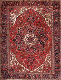 Heriz Vloerkleed 292X380 Echt Oosters Handgeknoopt Donkerrood/Zwart Groot (Wol, Perzië/Iran)