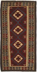 Kelim Maimane Vloerkleed 97X196 Echt Oosters Handgeweven Donkergrijs/Donkerrood (Wol, Afghanistan)