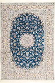 Nain 6La Habibian Vloerkleed 204X304 Echt Oosters Handgeknoopt Lichtgrijs/Wit/Creme (Wol/Zijde, Perzië/Iran)