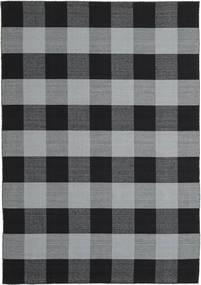 Check Kilim Vloerkleed 240X340 Echt Modern Handgeweven Zwart/Lichtblauw (Wol, India)