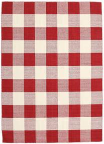 Check Kilim - Rood/Wit Vloerkleed 210X290 Echt Modern Handgeweven Rood/Licht Paars/Beige (Wol, India)