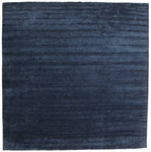 Handloom Fringes - Donkerblauw Vloerkleed 400X400 Modern Vierkant Donkerblauw/Blauw Groot (Wol, India)