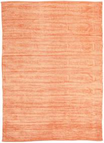 Kelim Chenille - Perzikoranje Vloerkleed 210X290 Echt Oosters Handgeweven Donkerbeige/Oranje ( India)