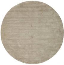 Handloom - Grijs Vloerkleed Ø 200 Modern Rond Lichtgrijs/Olijfgroen (Wol, India)