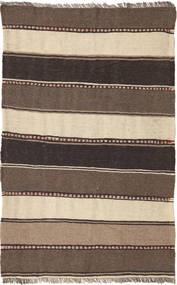 Kelim Vloerkleed 80X128 Echt Oosters Handgeweven Donkerbruin/Bruin/Beige (Wol, Perzië/Iran)