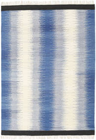 Ikat - Blauw Vloerkleed 160X230 Echt Modern Handgeweven Blauw/Beige (Wol, India)
