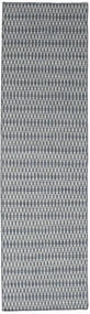 Kelim Long Stitch - Blauw Vloerkleed 80X290 Echt Modern Handgeweven Tapijtloper Lichtgrijs/Donkergrijs (Wol, India)