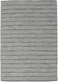 Kelim Long Stitch - Zwart/Grijs Vloerkleed 160X230 Echt Modern Handgeweven Lichtgrijs/Donkergrijs (Wol, India)