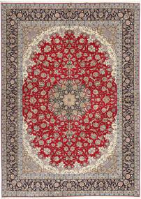 Isfahan Zijden Pool Vloerkleed 300X417 Echt Oosters Handgeknoopt Lichtgrijs/Donkerrood Groot (Wol/Zijde, Perzië/Iran)