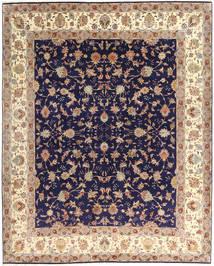 Tabriz 50 Raj Vloerkleed 255X305 Echt Oosters Handgeknoopt Donkerpaars/Beige Groot (Wol/Zijde, Perzië/Iran)