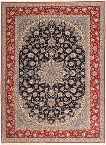 Isfahan Zijden Pool Vloerkleed 265X363 Echt Oosters Handgeknoopt Lichtgrijs/Donkerrood Groot (Wol/Zijde, Perzië/Iran)