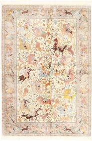 Ghom Zijde Vloerkleed 140X211 Echt Oosters Handgeknoopt Beige/Lichtroze (Zijde, Perzië/Iran)